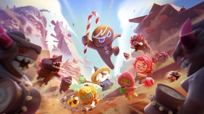 Screenshot from Cookie Run: Kingdom, showing the lead cookie fighting against enemies