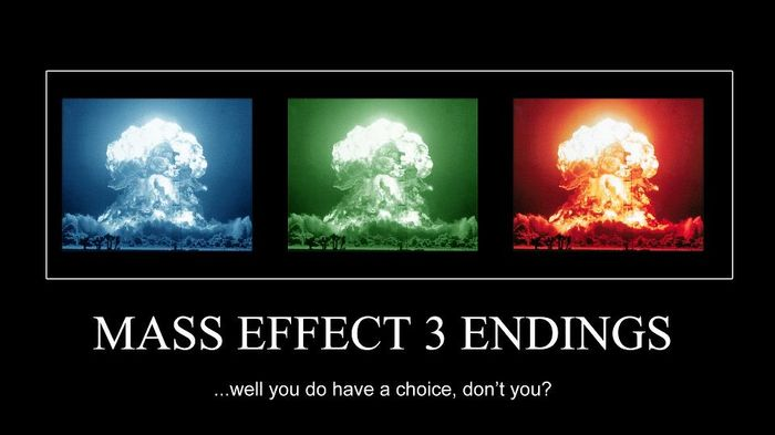 Three explosions, one a different color but otherwise exactly the same