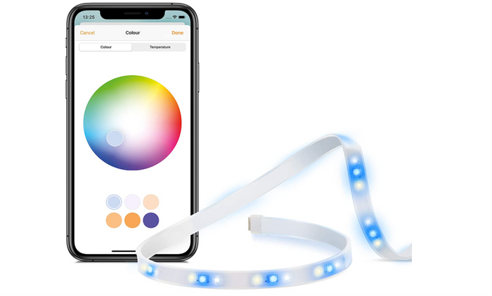 best light strips, product image of a blue light strip and phone with app control