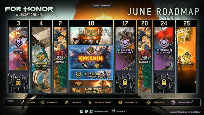 Picture of the For Honor Roadmap.