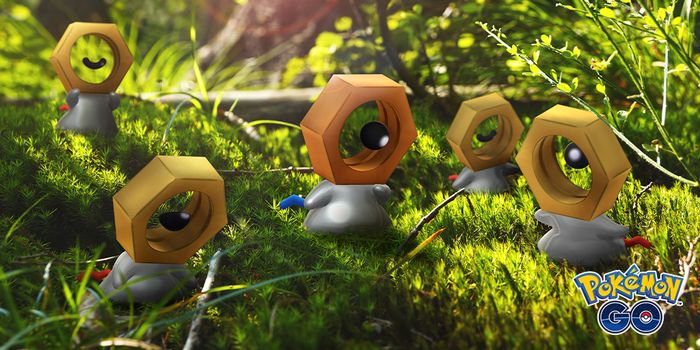 Shiny Meltan, which has a dark, rusted, nut as a head, surrounded by golden regular Meltan in a forest.