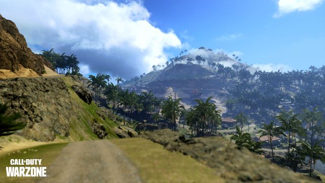 Pacific Warzone Map With Dirt Track In Foreground And Dense Forest In Background