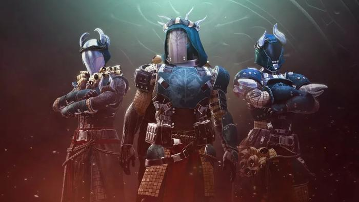 Image showing a Destiny 2 Iron Banner armour set called Iron Forerunner, worn by a Warlock, Hunter, and Titan.
