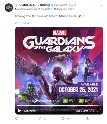 Screen shot showing that Guardians of the Galaxy will come to GeForce Now