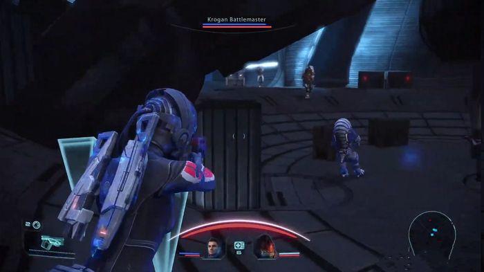 Screen shot of Mass Effect Legendary Edition. The Krogan Battlemaster is coming.