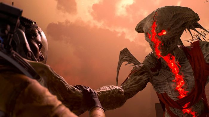 A severed enemy choking Selene. It is glowing red in the Crimson Wastes area.