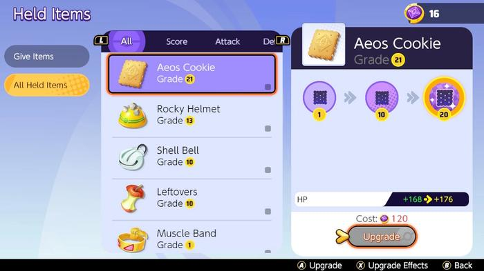 The Pokémon Unite Held Item upgrade screen showing the cost of upgrading Aeos Cookie from level 21 to 22.
