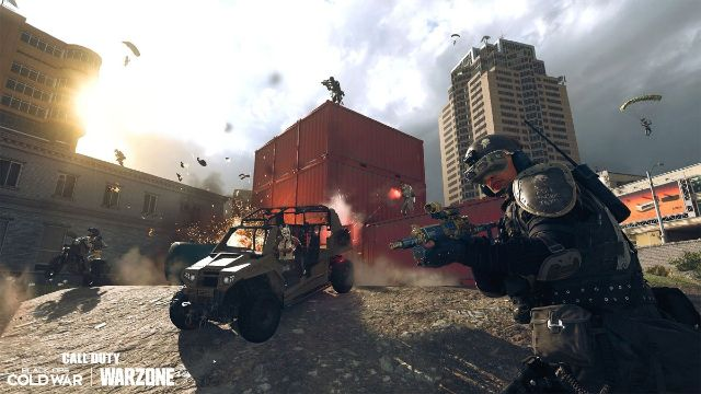 Warzone Operators Battling Next To Red Shipping Containers