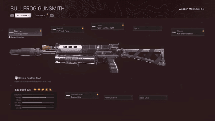 A loadout for the Bullfrog weapon. The actual loadout is above the screenshot written out already.