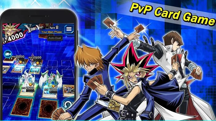 A promotional shot highlighting the PvP features of the Yu-Gi-Oh! Duel Links game.