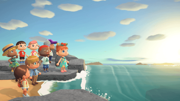 Friends on the beach in Animal Crossing New Horizons
