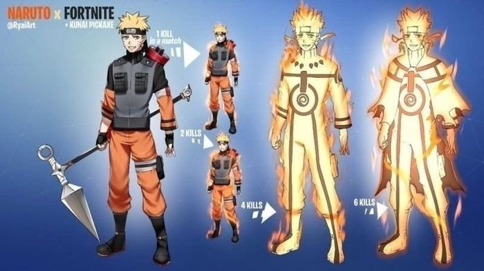 A fan made render of the Fortnite Naruto Skin