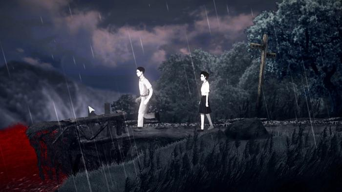 Screenshot from Detention, showing two characters walking across a rainy bridge