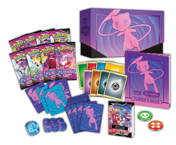 A set of Pokémon TCG booster packs, alongside bod sleeves with Mew on them.