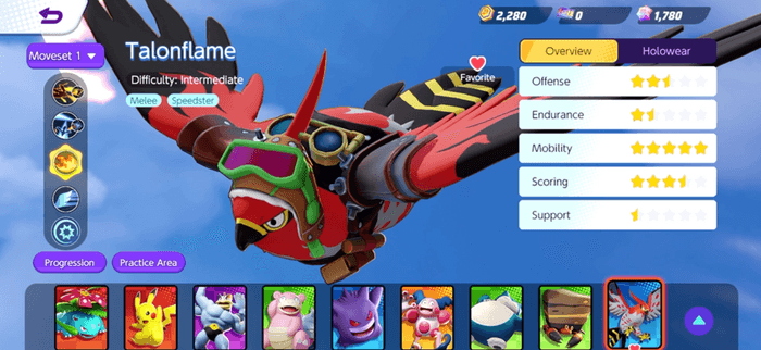 Talonflame adorned with pilot goggles.