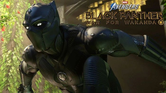Marvel's Avengers promo for War for Wakanda. Black Panther is looking cool in front of a forest.