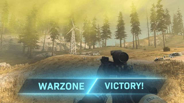 Warzone Victory Logo With Gas In Background