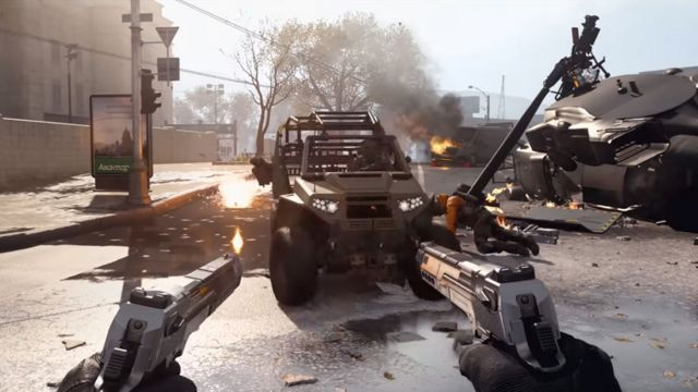 Warzone Player Holding Two Desert Eagle Pistols In Front Of Tactical Rover Vehicle