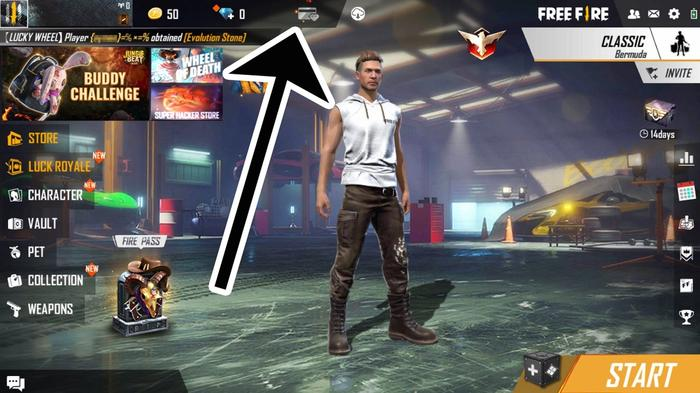 How to find the Free Fire VIP menu in-game.