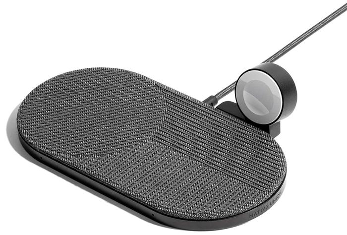 best wireless chargers Native Union, product image of a wireless charging pad with smart watch charger attatched.