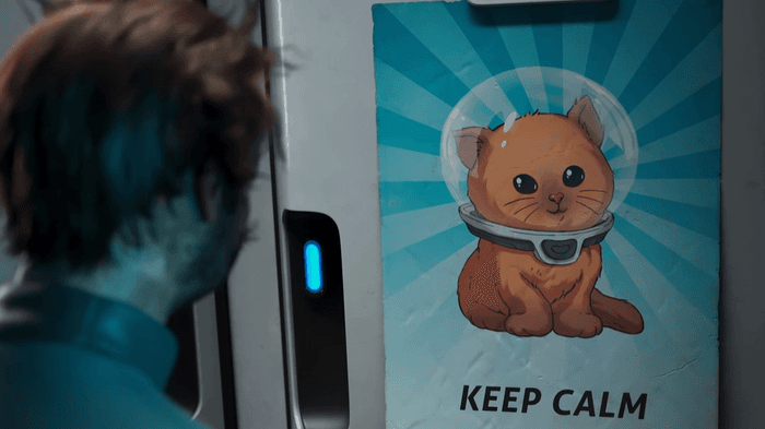 Subnautica Below Zero keep calm poster shot from trailer