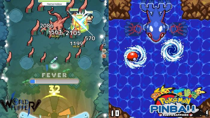 A side-by-side comparison of boss fights in World Flipper and Pokémon Pinball.