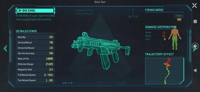 A blueprint of the R-99 SMG in Apex Legends Mobile, showing its statistics listed to the left.