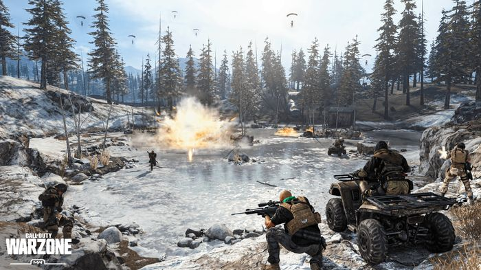 Players battle it out on the frozen lake near the dam area of Verdansk in Call of Duty Warzone.