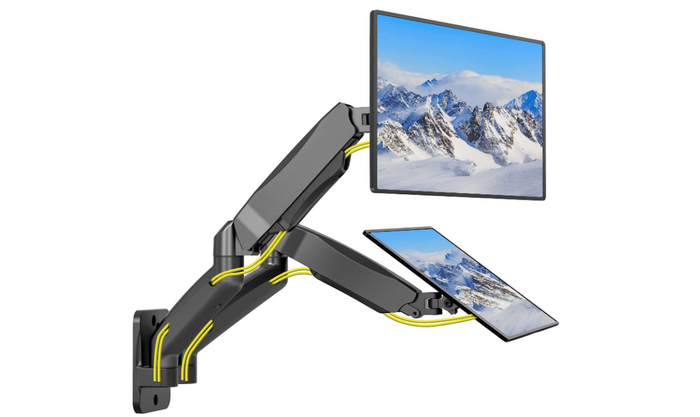 best dual monitor arm, product image of a grey dual monitor arm