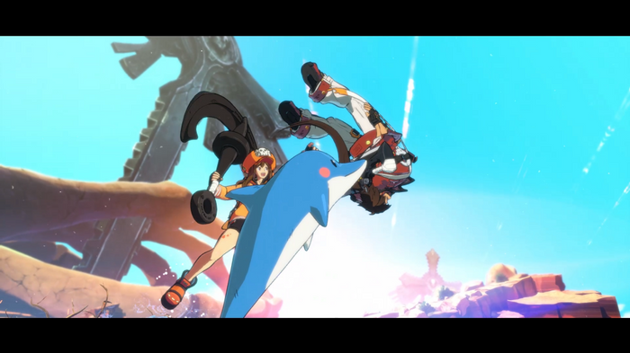 May and her dolphin in Guilty Gear Strive