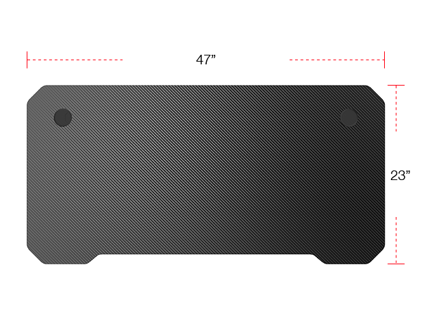 Image showing the worktop dimensions of the AndaSeat Mask 2 desk.