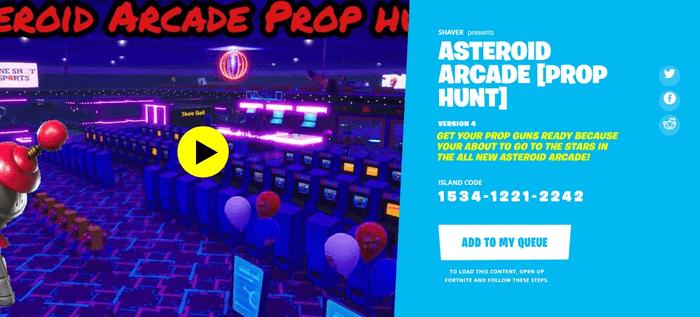 Fortnite Prop Hunt Asteroid Arcade (Image via Epic Games)