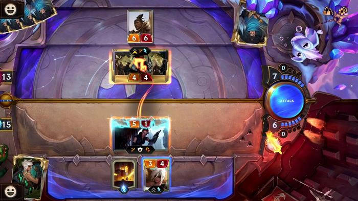 An in-game shot from Legends of Runeterra showing the player about to attack the opponent's only card.