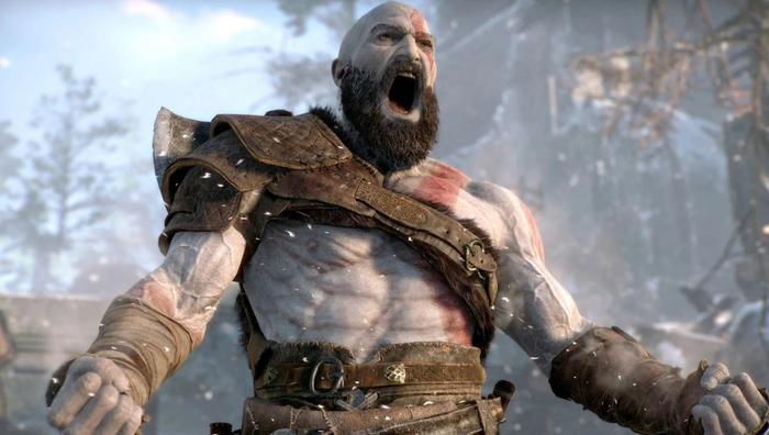 Screenshot from 2018's God Of War on PS4 showing Kratos shouting