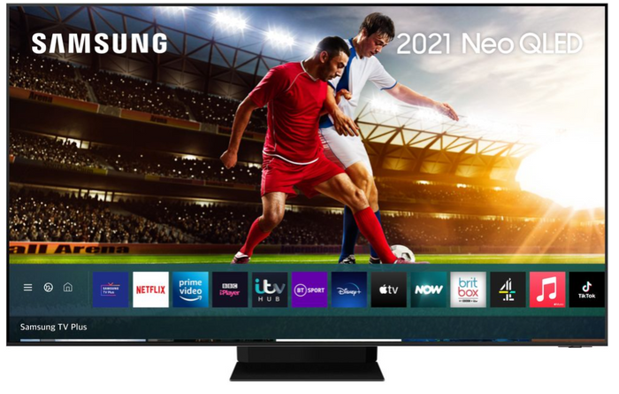 Image of Samsung 8K TV displaying two men playing football, with a man in a red kit challenging a man in a white kit for the ball on the right side of the screen