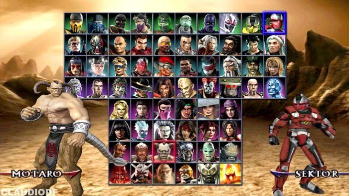The roster for Mortal Kombat: Armageddon in game.