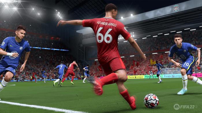 FIFA 22 screenshot showing Trent Alexander-Arnold crossing against Chelsea.