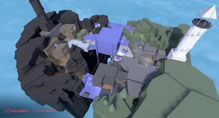 This image features the initial design for VALORANT's Fracture Map