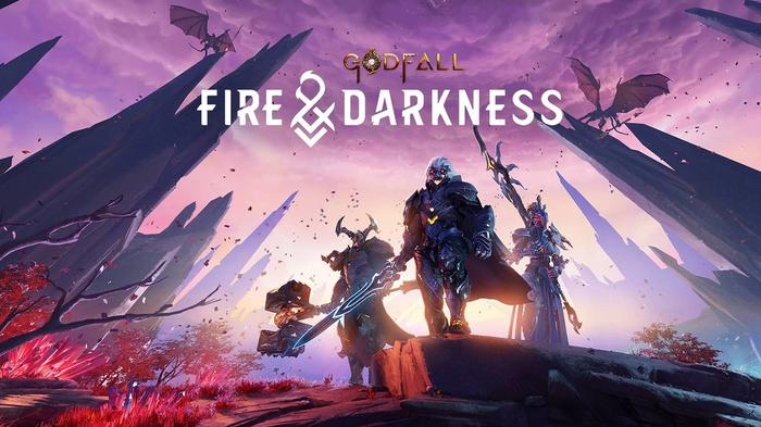 """<img src=""""godfall1.jpg"""" alt=""""fire and darkness cover image with three figures looking on in purple environment"""">"""