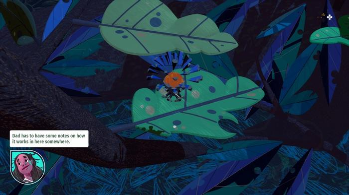 Screenshot of Stonefly. The player is playing through the wild while the main character talks.