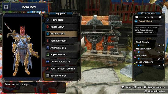 Highlighting the Quick Sheath skill on the Barioth armour set in Monster Hunter Rise.