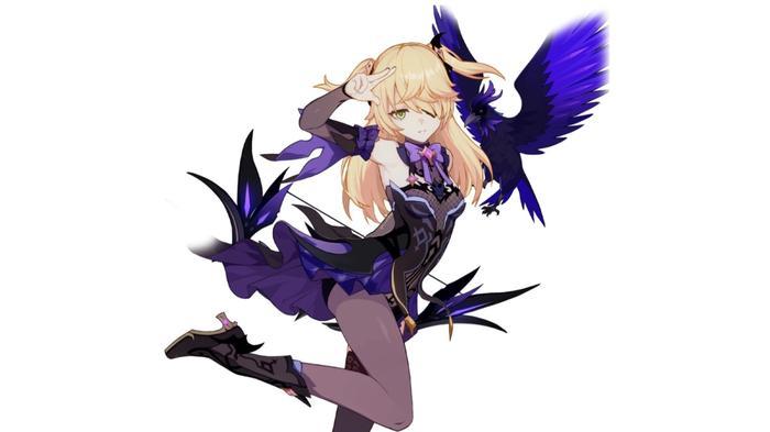 Honkai Impact character, Fischl, in her Prinzessin der Verurteilung battlesuit