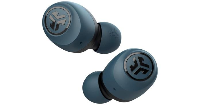 Best budget earbuds, product image of blue JLab wireless earbuds
