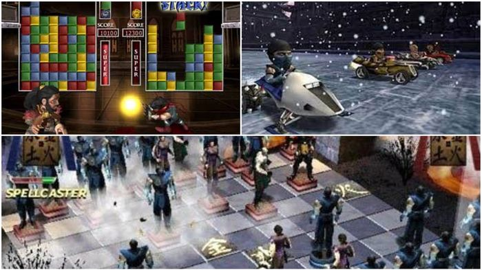 Three different Mortal Kombat Games. Mortal Kombat in Chess, Racing, and puzzle forms are shown above.