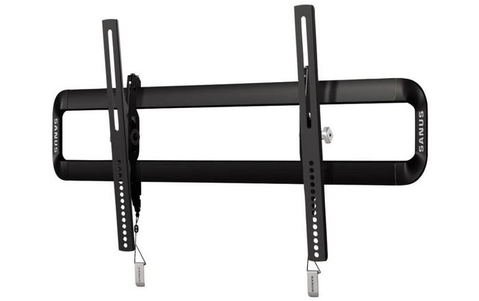 best TV wall mount, product image of a black metal tilting mount