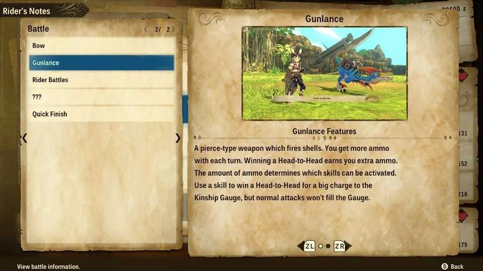 The Gunlance setion in the Rider's Notes menu of Monster Hunter Stories 2