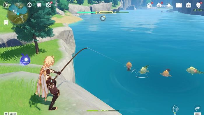 Fishing for Pufferfish in Genshin Impact.