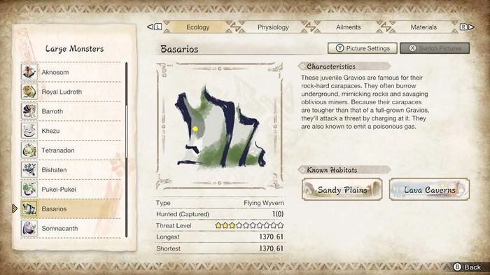 The Hunters Notes screen in Monster Hunter Rise showing an Arzoros and its weaknesses