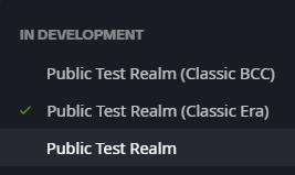 Classic Era PTR screenshot from the Blizzard launcher