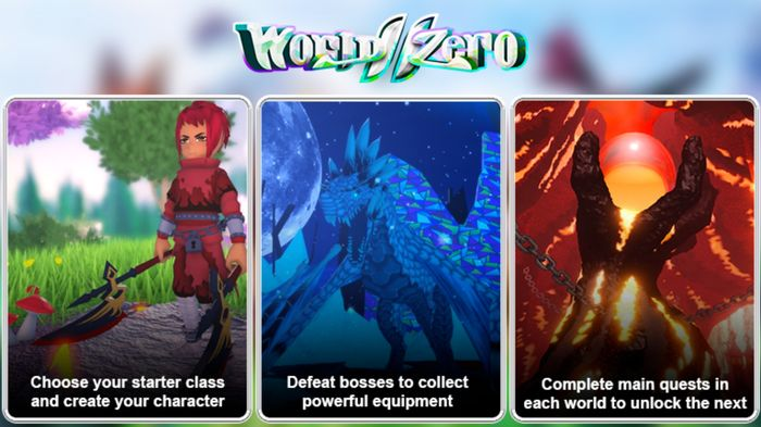 Three boxes containing info on all the things you can do in World Zero, including creating a character and going on adventures.